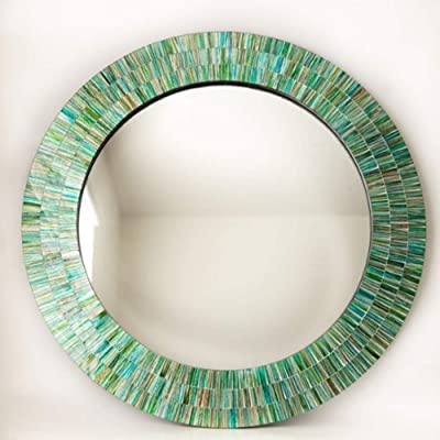 MFS Fortune Co. Large Size Mosaic Wall Mirror Handcrafted Material : Wood (Mosaic Artwork on Wood) Glass Tiles Embedded on Wooden Surface Wall Mirror  Size-30*30*2 inch  Wt- 3.5 Kg 