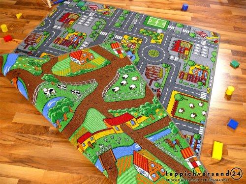 Lernen und Spielen Straßenteppich Beidseitig mit Zwei Straßenlandschaften in 4 Größen ab EUR 39,90, Größe:140x200 cm
