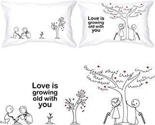 BOLDLOFT Grow Old with You His and Hers Pillowcases|2nd Anniversary Gifts for Her|Cotton Anniversary Gifts for Him|Wedding Anniversary Gifts for Couples|Dating Anniversary Gifts for Her for Him