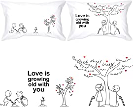 BoldLoft Grow Old with You Couple Pillowcases-Gifts for Couples 2 Year Anniversary Engagement Wedding Anniversary Dating R...