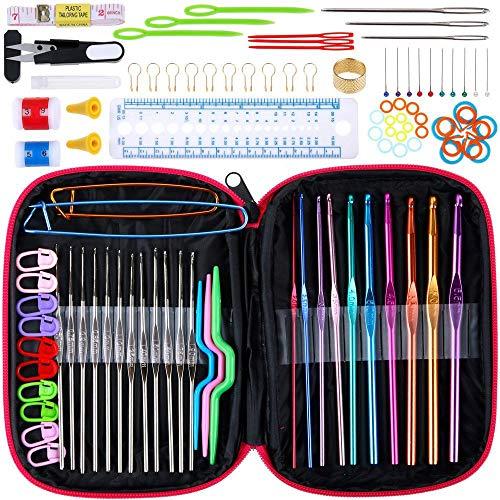 LQKYWNA 100Pcs Crochet Hooks Set, 10 Colorful Aluminum Hooks + 12 Silver Hooks + Ergonomic Knitting Accessories + Pink Case for Extreme Comfort