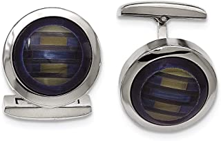 Lex & Lu Chisel Stainless Steel Polished Blue Cat's Eye Cuff Links
