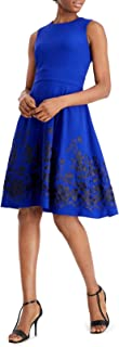 Women's Sleeveless Floral Embroidered Fit and Flare Dress