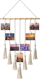Hanging Photo Displays Macrame Wall Hanging Picture Organizer with 25 Wood Clips Boho Hone Decor for Home, Living Room, Be...