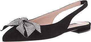 حذاء باليه مسطح للنساء من SJP من سارة جيسيكا باركر، ساتان أسود، 10 US