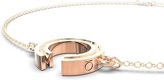Loch: Pulsera de plata vermeil oro rosa 14K letra M con cadena 19 cm de largo