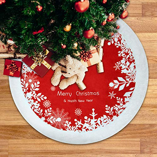 Deyard Christmas Tree Skirt 48 inches Large Thick Faux Fur Snowy Red and White Tree Skirt for Holiday Party Christmas Decorations (48'-Snow White)