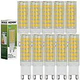 MENGS Pack de 10 Bombilla lámpara LED 7 Watt G9, 75x 2835 SMD, Blanco Cálido 3500K, AC 220-240V