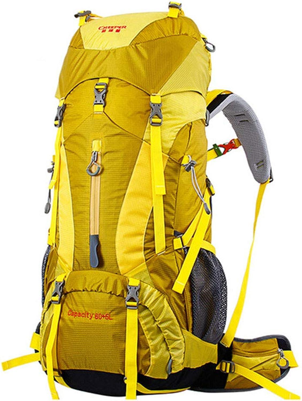 BAG 65L Männer Rucksack Frauen Rucksack Männer Männer Männer Reisen multifunktions rucksäcke große kapazität Wasserdichte reiserucksack,Gelb B07PY83927  Markenschmaus 36a27e