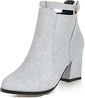 6491a92ee Women s Sequined Round Toe Short Boots with Zipper - Trendy Martin Buckle  Strap - High Block