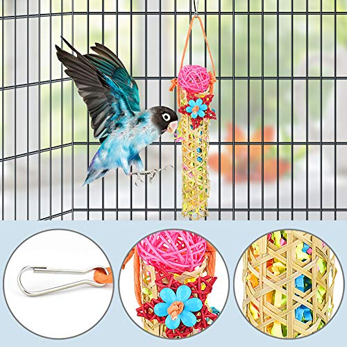 KATUMO 4 Pcs Bird Parrot Toys, Colorful Chewing Shredder Toys Shred Hanging Foraging Toys Bird Wood Perch Stand for Parakeet, Conure, Cockatiel, Mynah, Love Birds, Finch, Small & Medium Pet Birds