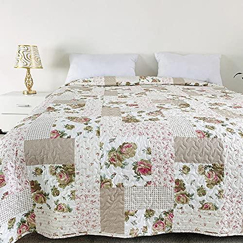Meet Beauty Colcha Estampada Spoty,Colcha Acolchada Lanza Rey, para decoración de Dormitorio Cubierta Reversible Colcha en Relieve-Metro_240x280cm