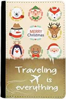 Circle Merry Christmas Snowman Festival Traveling quato Passport Holder Travel Wallet Cover Case Card Purse