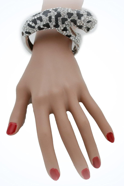Women Silver Metal Dressy Jewelry Cuff Bracelet Leopard Tiger Sa