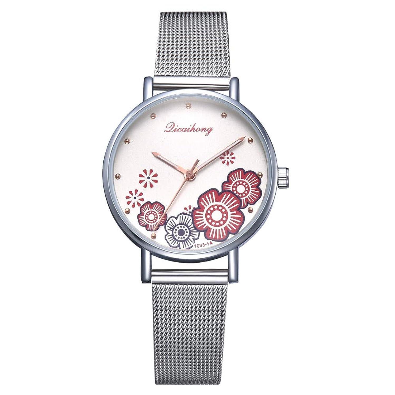 Women Watches for Sale,Stainless Steel Analog Quartz Watch Flower Shape Wrist Watch(Red)