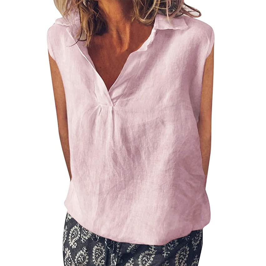 TIANMI Women Fashion Loose Sleeveless Linen Daily Solid Daily Casual Shirt Blouse Tops
