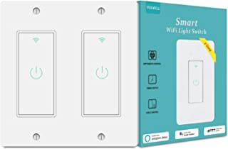 Smart Light Switch, Yeewell 2.4Ghz WiFi Light Switch with Timer and Remote Control, Works with Alexa, Google home and IFTTT, Neutral Wire Needed, Single Pole, No Hub Required, 2 gang