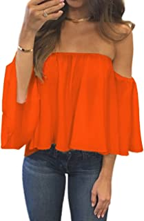 dc39dcbf6bc9 Women s Summer Off Shoulder Blouses Short Sleeves Sexy Tops Chiffon Ruffles Casual  T Shirt