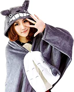 Totoro Cloak Blanket Air Conditioning Blankets Thicken Plush Toy Stuffed Cape Gifts for Kids Girls (Color : Gray, Size : 1...