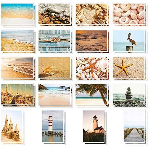 Best Paper Greetings Postkarten für Diverse Gelegenheiten (40 Stück) - Maritime Motive mit Stränden, Muscheln und Leuchttürmen - Großpackung, Sortiert, 10,2 x 15,2 cm