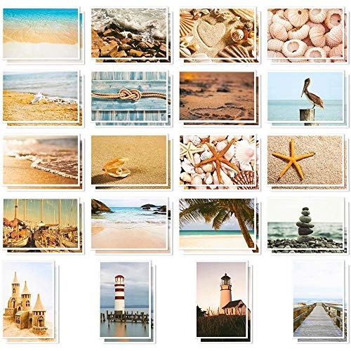 40 Pack All Occasion Beach and Ocean Themed Blank Post Cards Greeting Bulk...