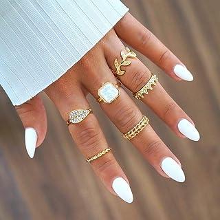 Missgrace Gold Leaf Knuckle Stacking Rings for Women Teen Girls Boho Vintage Finger Rings Stackable Gold Midi Rings Set Mu...