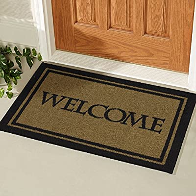 "Ottomanson Doormat Collection Rectangular Welcome Bordered Doormat, 20"" X 30"", Beige"