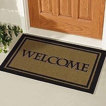 Ottomanson Ottohome Rectangular Non-Slip Beige Welcome Doormat