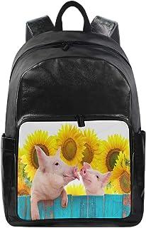Lustiger Rucksack mit süßem Tierschweinchen und Sonnenblumen-Schultertasche für Wandern, Camping, Schulreisen, Computertas...