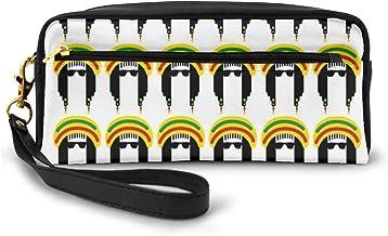 Pencil Case Pen Bag Pouch Stationary,Jamaican Culture Elements Ethnic Cartoon Style Design Rastafarian Man Dreadlocks,Small Makeup Bag Coin Purse