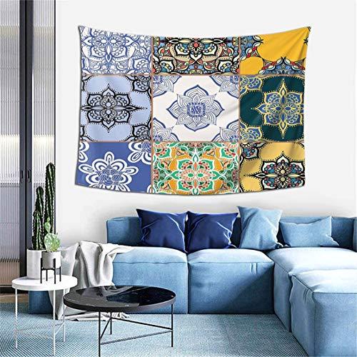 Multi Set De Patrones De Azulejos Islámica Y Portuguesa Tapiz Para Dormitorio Sala Dormitorio Decorativo 156 x 100 Pulgadas