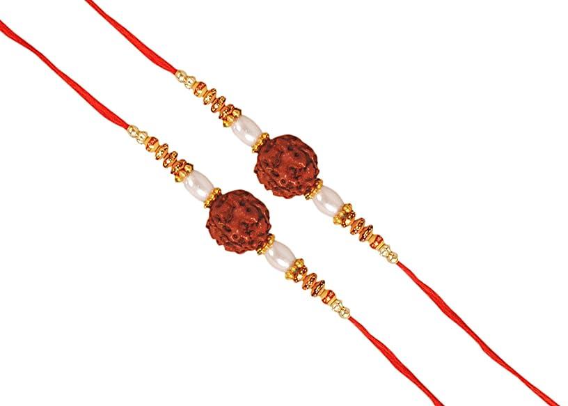 Set of 2 RUDRAKSHA Rakhi with White Pearl for Bhaiya Brother/Sisters,Traditional Rakhi,Thread,Bracelet for Rakshabandhan Festival