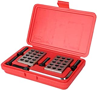 Machinist Block Set with Screws Wrench Case, 1-2-3 Block Precision Gauge Blocks Matched Milling Machinist 23 Holes, Millin...