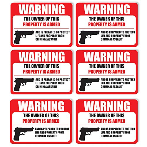 "(6 Pack) PROTECTED BY ARMED PROPERTY OWNER Sign -Self Adhesive 2½ X 3½"" 4 Mil Vinyl Decal -Indoor & Outdoor Use, Home & Business Security-UV Proof&Waterproof -Window & Door Gun Handgun Warning"