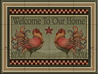 Ceramic Tile Mural - Welcome Roosters - by Angela Anderson - Kitchen backsplash/Bathroom Shower