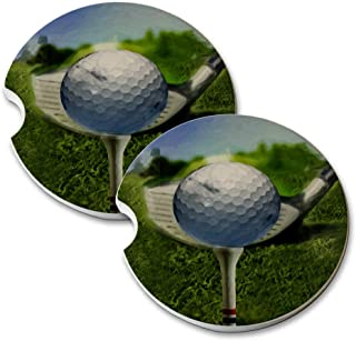 New Vibe Golfball Tee Course - Round Absorbent Natural Stone Car Coaster Set (Set of 2) Auto Drink Coasters