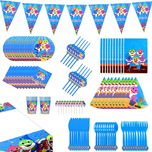 Shark Party Supplies for Baby - 150 Pcs Ocean Themed Birthday Parties Decorations Set - Include Favors, Banner, Balloons, Table Cloth, Plates, 10 Sets of Tableware and Invitations