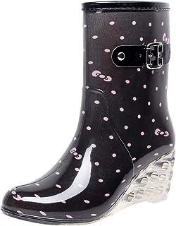 comprar comparacion YWLINK Botas De Lluvia Mujer Hunter Zapatos CuñA Botas De Lluvia Hebilla con Cremallera Lateral Transparentes Zapatos De G...