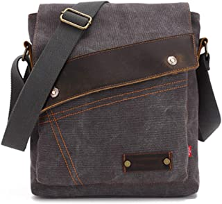 Canvas Handbag,Mens Messenger Bag,Laptop Bag 10 Inch Briefcase,Vintage Canvas Genuine Leather Shoulder Bag,Waterproof Bag