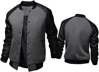 Aowoey New Gray Baseball Jacket Men 2015 Fashion Design Black Pu Leather Sleeve Mens Slim Fit College Varsity Jacket Veste