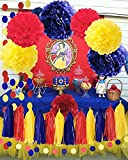Qian's Party Snow White Color Party Supplies Yellow Navy Red Snow White Princess Birthday Party Decorations/Princess Red and Royal Blue Birthday Backdrop/Transportation Birthday Decor