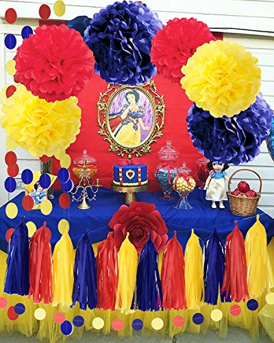 Qians Party Snow White Birthday Party Decorations Yellow Navy Red Snow White Princess Birthday Party Decorations/Princess Red and Royal Blue Birthday Backdrop/Transportation Birthday Decor