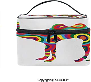 Printed Durable Portable Travel Cosmetic Bags Colorful Featured Camel Figure Abstract Trippy Shapes and Bands Artful Illustration with Mesh Pocket Women Make Up Bags