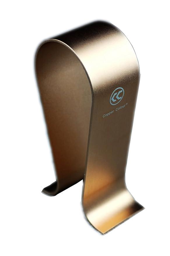 熟達した啓発する曲げるCopper Colourアルミ製 ヘッドホンスタンド ハンガー ブラケット ディスプレイ 棚ラック (ゴールド)