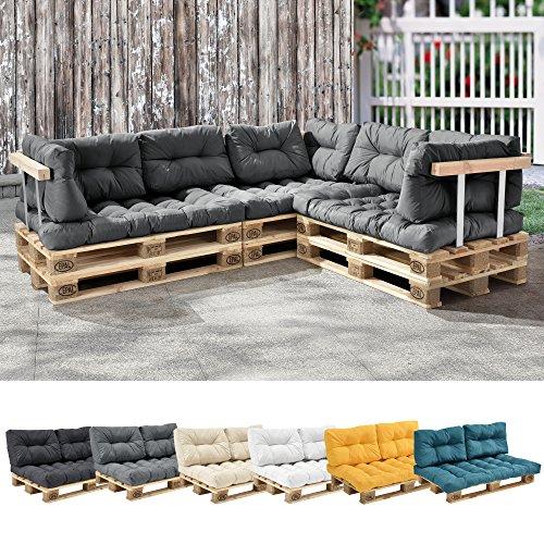 [en.casa] 1x Coussin de siège pour canapé d'euro Palette [Gris Brilliant] Coussins de palettes in/Outdoor Rembourrage Meuble