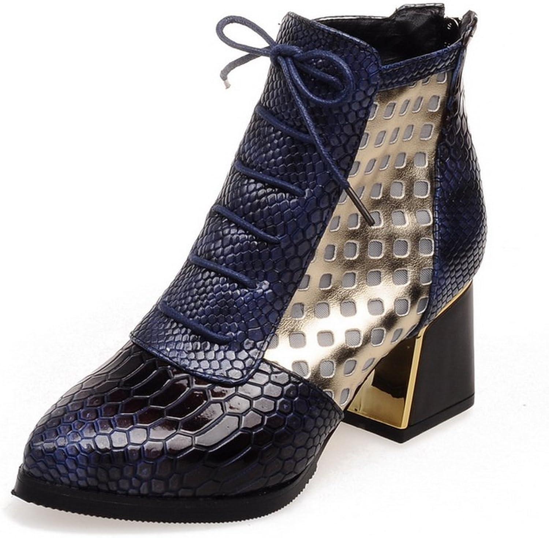 BalaMasa Womens Back Zipper Kitten-Heels Outdoor Imitated Leather Boots