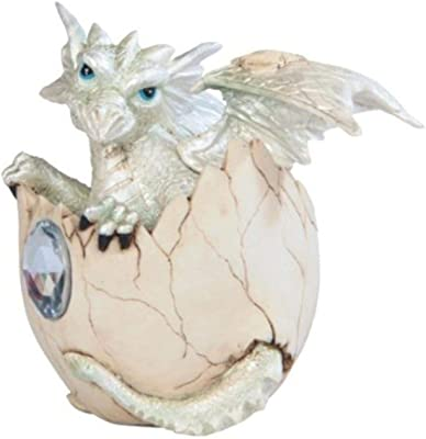 """George S. Chen Imports SS-G-71472 White Baby Dragon in Eggshell with Gem Figurine, 4.25"""""""