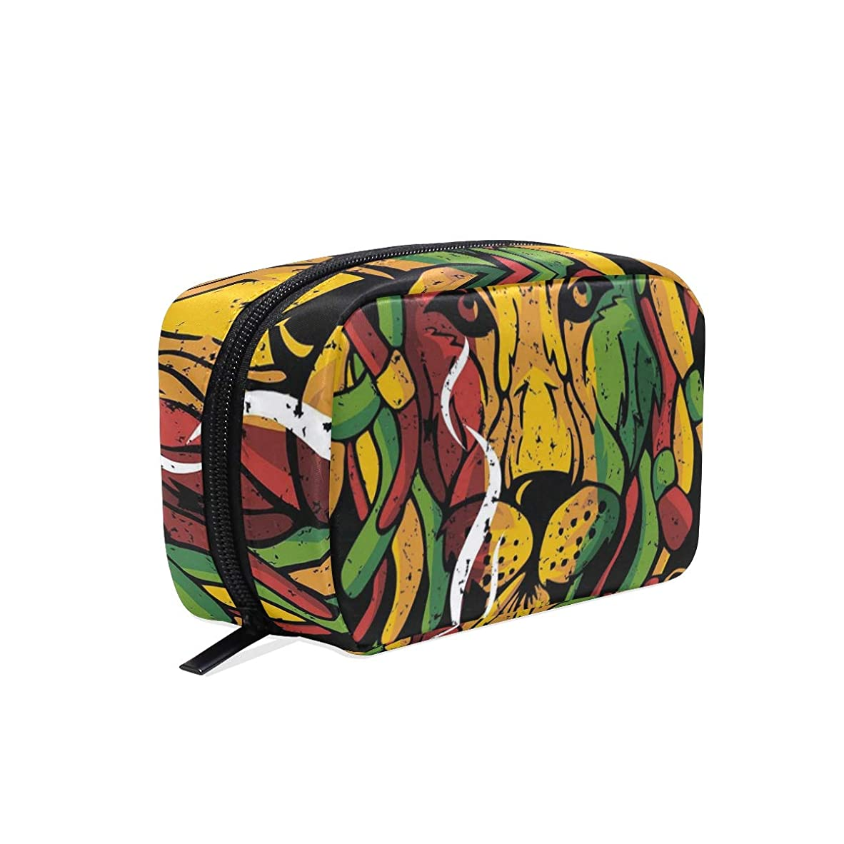不道徳含める発表する芸術のライオンラスタ 化粧ポーチ メイクポーチ 機能的 大容量 化粧品収納 小物入れ 普段使い 出張 旅行 メイク ブラシ バッグ 化粧バッグ
