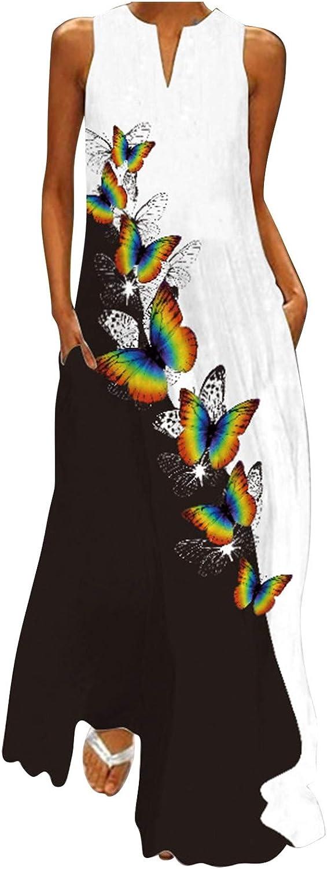 INNOVIERA Sundresses for Women Summer,Women's Sleeveless Casual Dresses Plus Size Maxi Long Boho Beach Dress with Pockets