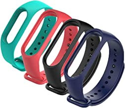 4Pack Compatible with Xiaomi Mi Band 3 Mi 4 Bracelet, Silicon Sport Strap Wristband Accessories Colorful Mi Band 3 Accessories